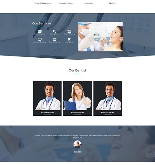 Dental template page - free template for elementor