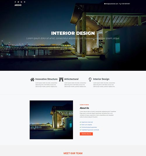 Interior-Design template page - free template for elementor