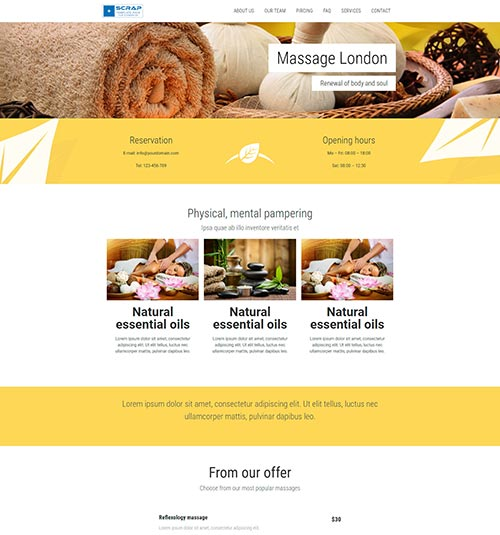 Massage template page - free template for elementor