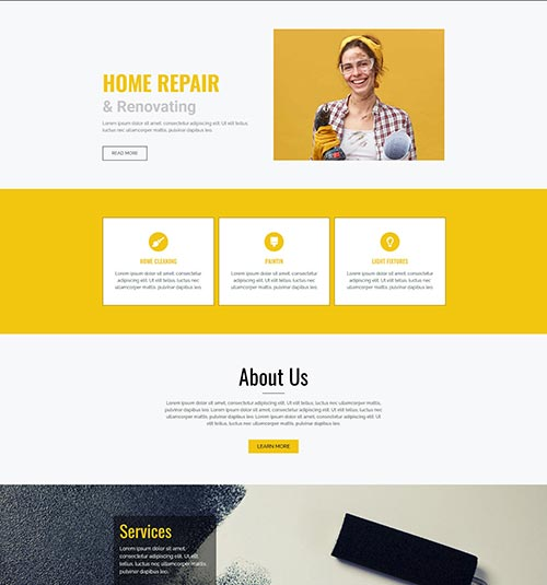 Repair template page - free template for elementor