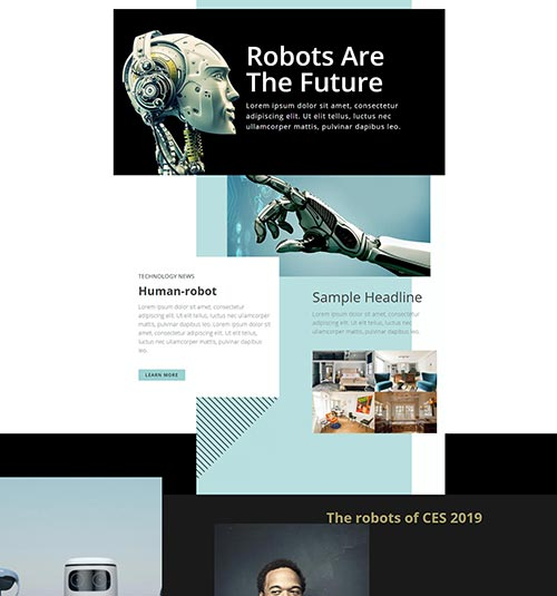 Robotic template page - free template for elementor