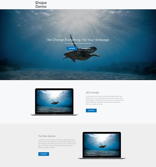 Shape template page - free template for elementor