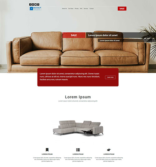 Leather furniture template page - free template for elementor