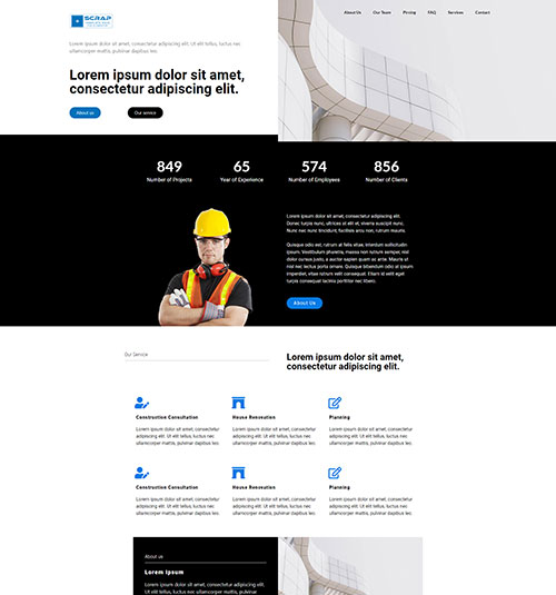 Three template page - free template for elementor
